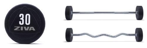 ZVO Solid Steel Urethane EZ Curl Barbells